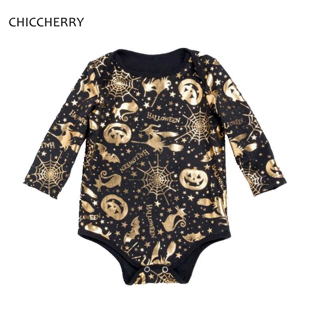 a96e177d262b Long Sleeve Black Romper Jumpsuit with Witch Pumpkin Gold Printing Kids  Halloween Costume For Baby Girl Clothes Infant Clothing