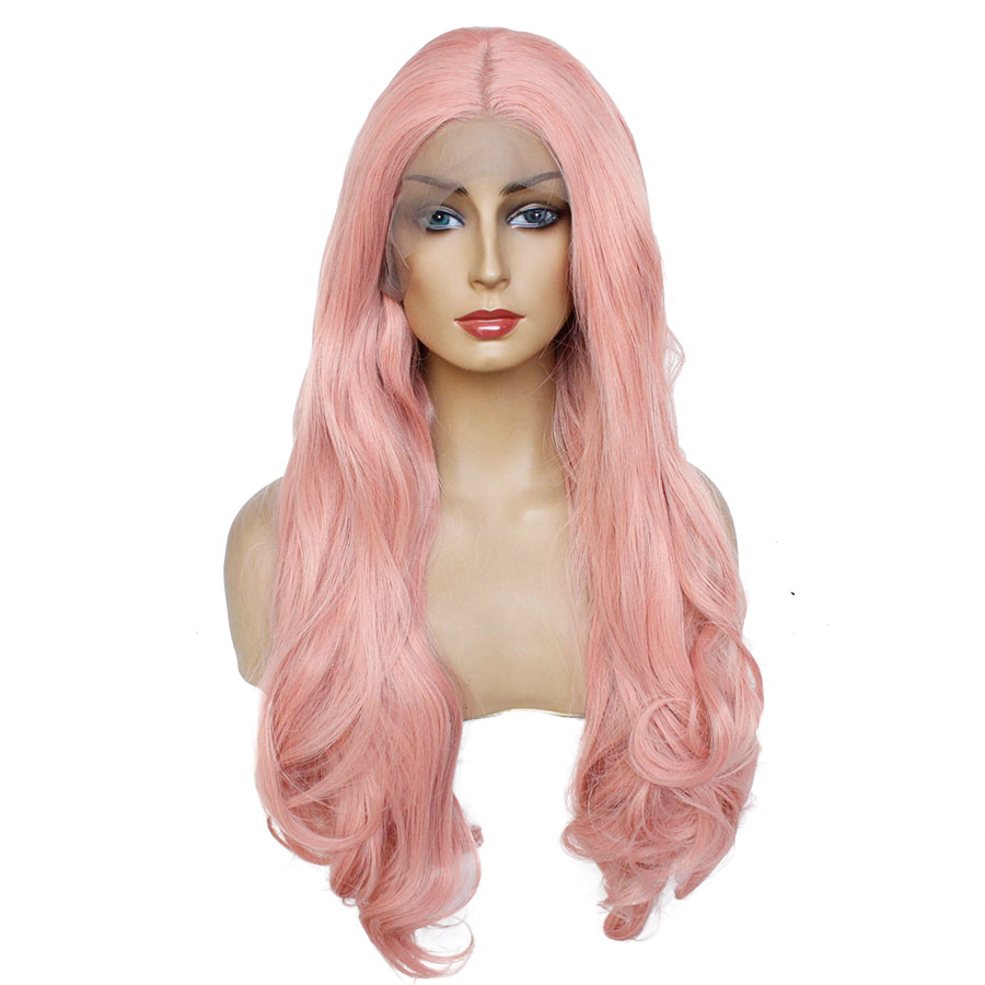 Ombre Synthetic Lace Front Wig Long Wavy Cosplay Wigs For Women Dark Root Pink White Brown Wigs Heat Resistant Hair Eunice Hair