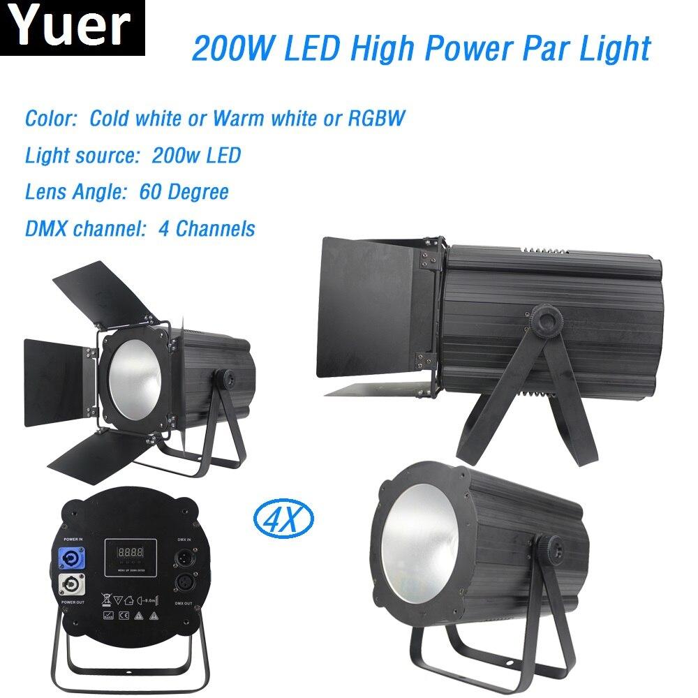 4Pcs/Lot 200W COB Par Lights Warm White&Cold White RGBW Aluminum 200W Cob Led Par Light DMX512 Disco Light Dj Dmx Stage Light