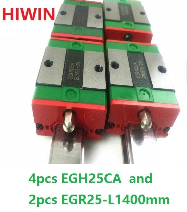 где купить 2pcs 100% original HIWIN linear rail guide EGR25 -L 1400mm + 4pcs EGH25CA linear block for CNC дешево