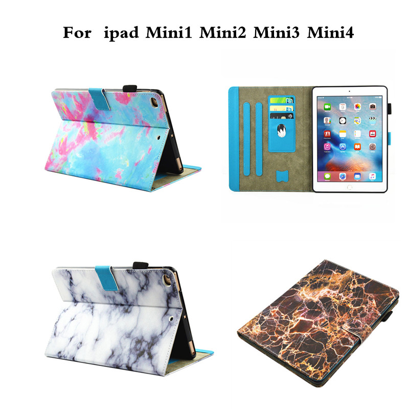 Case for iPad mini 1 2 3 4 PU Leather Folio Stand Fashion Marbling Design Wallet With Soft TPU Back Case for iPad mini2 Mini3