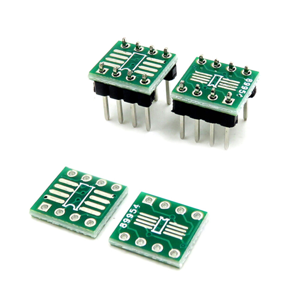 10pcs Double Sides Electronic Circuit TSSOP8 SSOP8 SOP8 SMD To DIP8 Adapter To DIP+ Pin Header PCB Board Converter 0.65mm/1.27mm