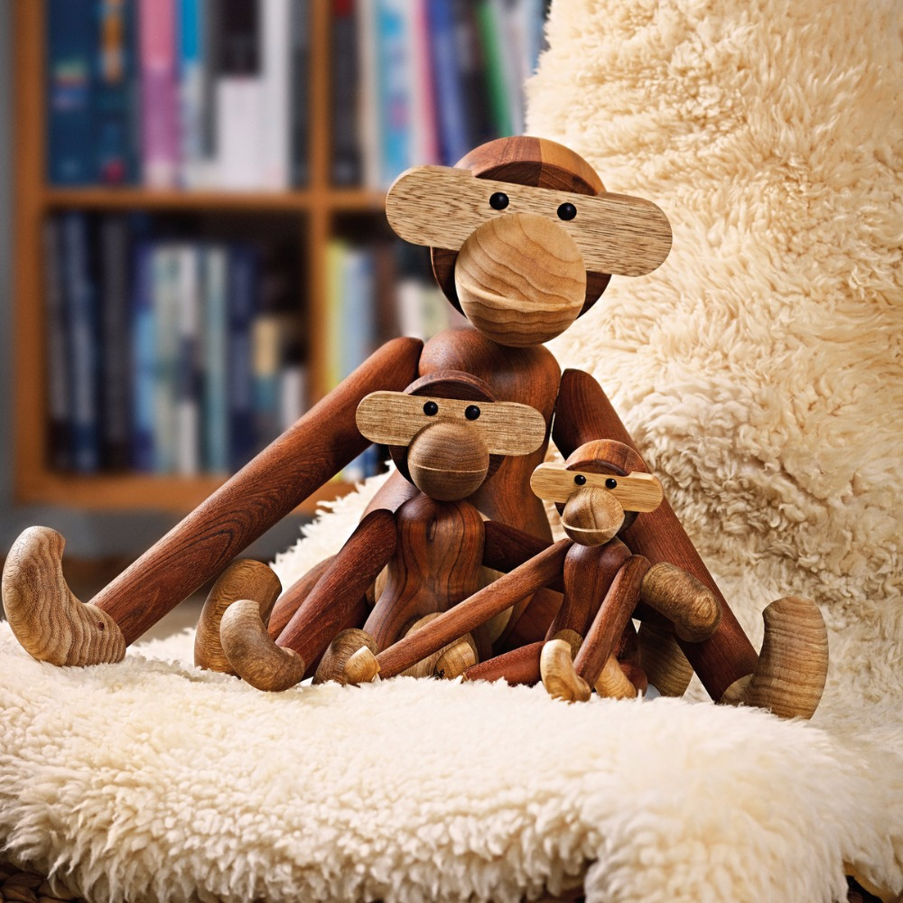 Three wise monkeys wooden ornaments - The American Kay Bojesen Series Of Danish Wood Puppets Classic Decor Home Furnishing Ornaments