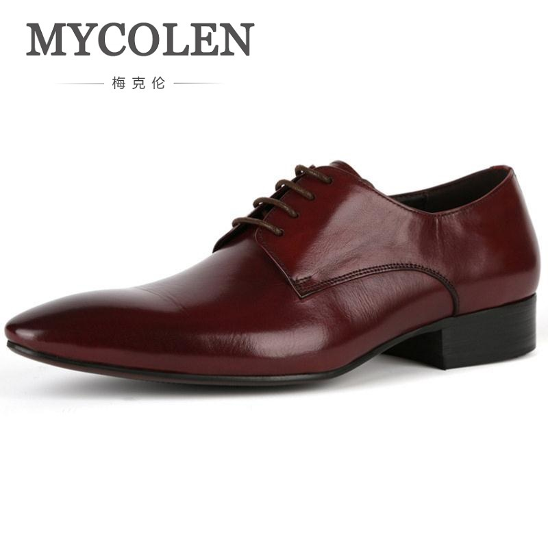 MYCOLEN New Men Shoes Business Leisure Leather Wedding Shoes Lace Up Genuine Leather Pointed Toe Breathable Solid Derby Shoes men s dress shoes genuine leather cowhide leather pig inner round toe derby style wedding business shoes 2018 new lace up