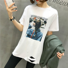 M 2019 spring and summer new Korean version of the loose hole in long section fashion short-sleeved T-shirt women