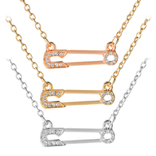 Conveyor belt shape Necklaces for Women Simple crystal necklace pin jewelry