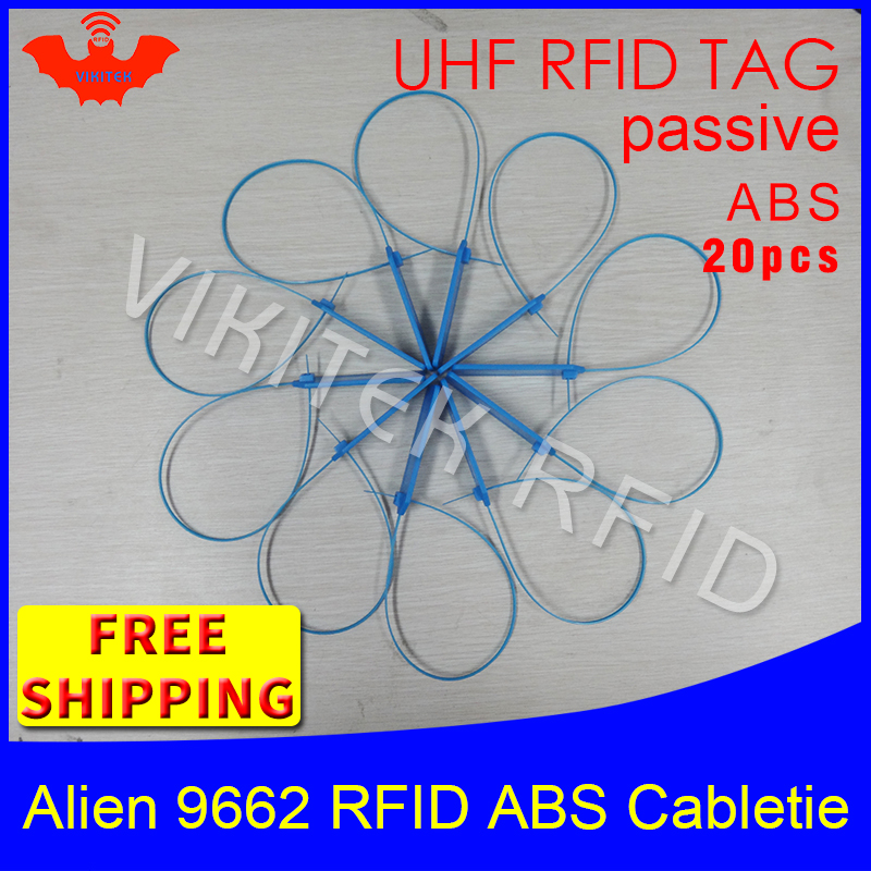 UHF RFID ABS cable tie Alien 9662 915m868m860-960MHZ H3 EPC 6C 20pcs free shipping long reading distance smart passive RFID tag 1000pcs long range rfid plastic seal tag alien h3 used for waste bin management and gas jar management
