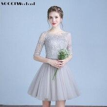 SOCCI Cinza Curto Vestidos Cocktail 2017 Vestidos de Três Quartos Mangas Lace Tulle Prom Vestido Formal Vestido de Festa Vestido de Vestidos de Casamento curtos