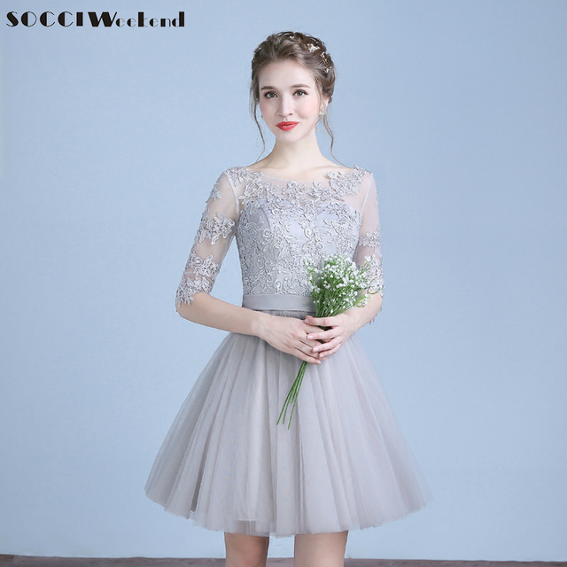 Grey Short Cocktail Dresses Three Quarter Sleeves Tulle Lace Prom Dress Formal Wedding Party Gown Vestidos de curtos