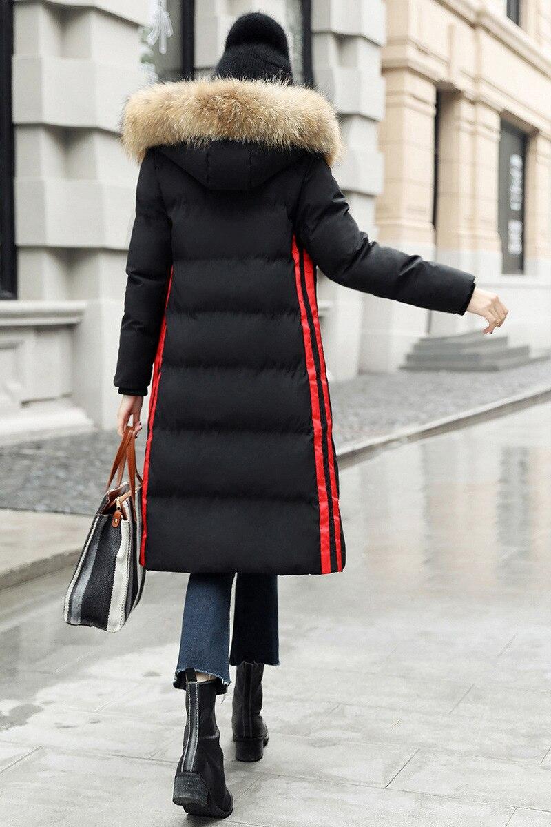 Manteau Chaud Fourrure Veste À Tq062 Coton Épais Taille Grand Col Nouveau De 2019 D'hiver Externe Survêtement Mince Femmes Black Capuchon Rayé En Grande atq4vY