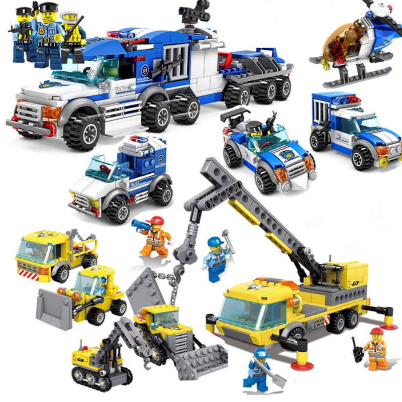 4in1 Building blocks Compatible legos city police playmobil city Engineering cars toys for Children Boys Model Building Kits