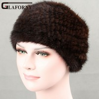 Glaforny 2018 Women Genuine Mink Fur Ring New Knitted Mink Scarf Real Mink Fur Hat Fur Headband Muffler Ring Elastic Neckerchief