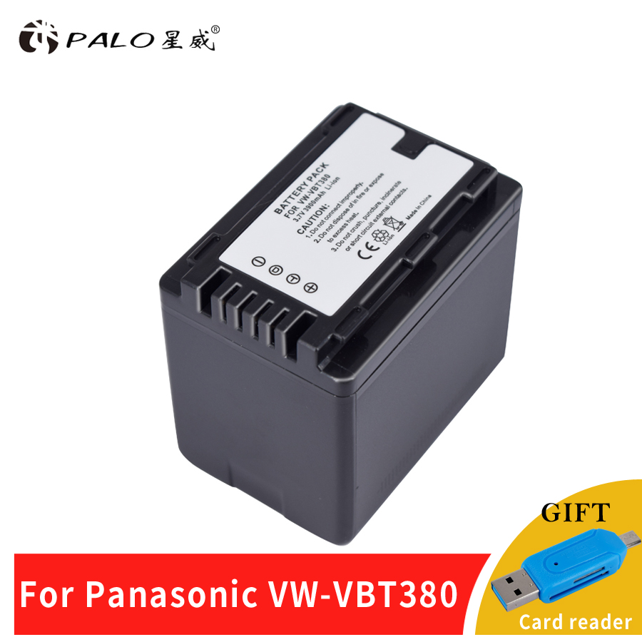 Palo 1Pc 3900mAh VW-VBT380 VBT380 VW-VBT190 VBT190 Battery for Panasonic HC-V110 HC-V130 HC-V160 HC-V180 HC-V201 HC-V250 HC-V260 tectra 2pcs vw vbt190 vbt190 li ion battery usb 2 channel charger for panasonic hc v110 hc v130 hc v160 hc v180 hc v201 hc v210