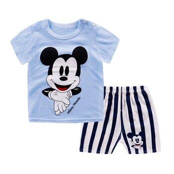 fe3eb4335 Marca de personaje de dibujos animados ropa para Bebés Ropa Mickey Minnie  impresión ropa de bebé traje de ropa