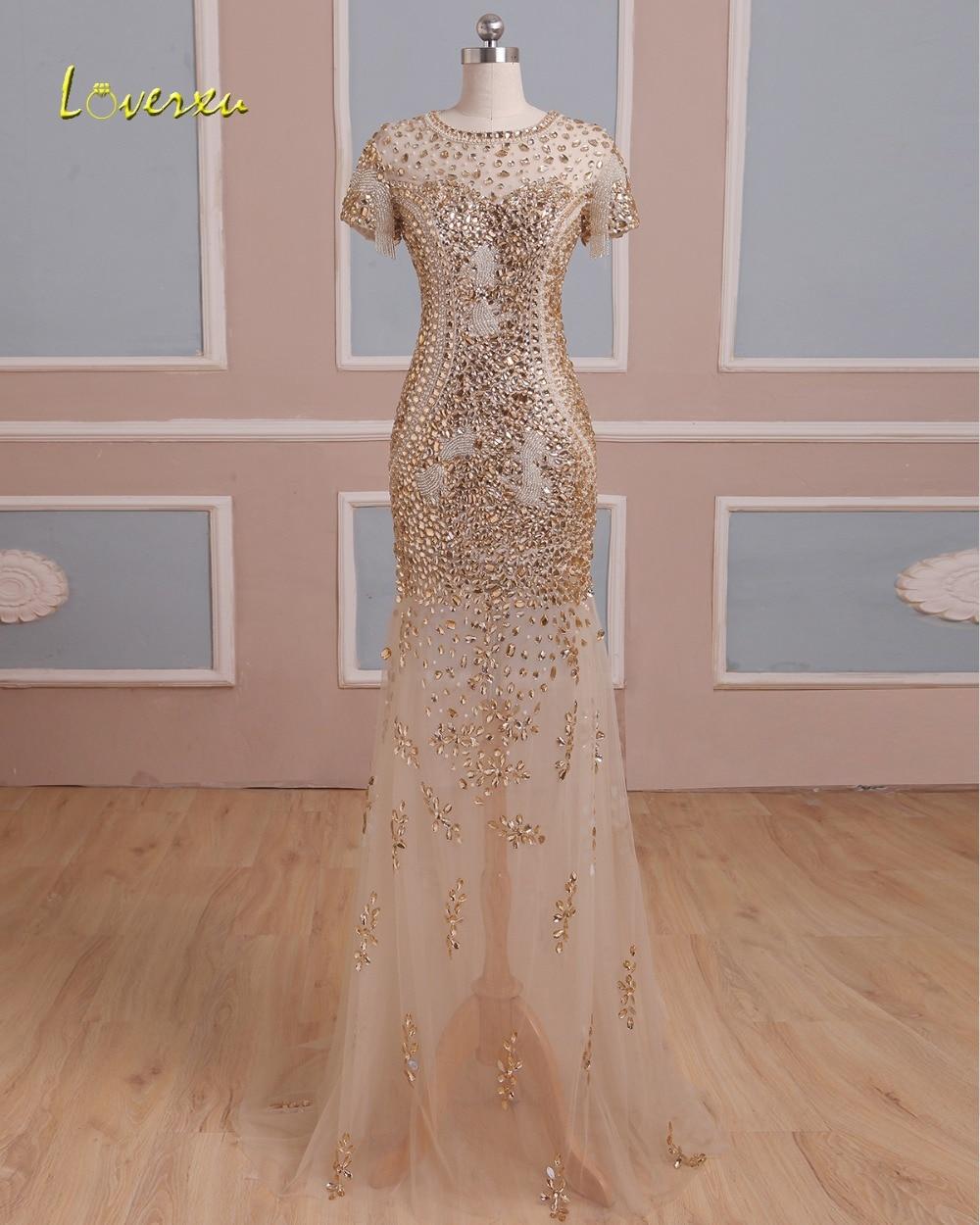 Loverxu Luxury Beaded Short Sleeve Crystal Mermaid Evening Dress 2019 Vintage O-neck Zipper Party Gown Robe De Soiree Plus Size