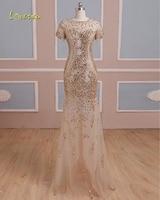 Loverxu Luxury Beaded Short Sleeve Crystal Mermaid Evening Dress 2019 Vintage O neck Zipper Party Gown Robe De Soiree Plus Size