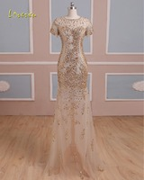 Loverxu Luxury Beaded Short Sleeve Crystal Mermaid Evening Dress 2018 Vintage O neck Zipper Party Gown Robe De Soiree Plus Size