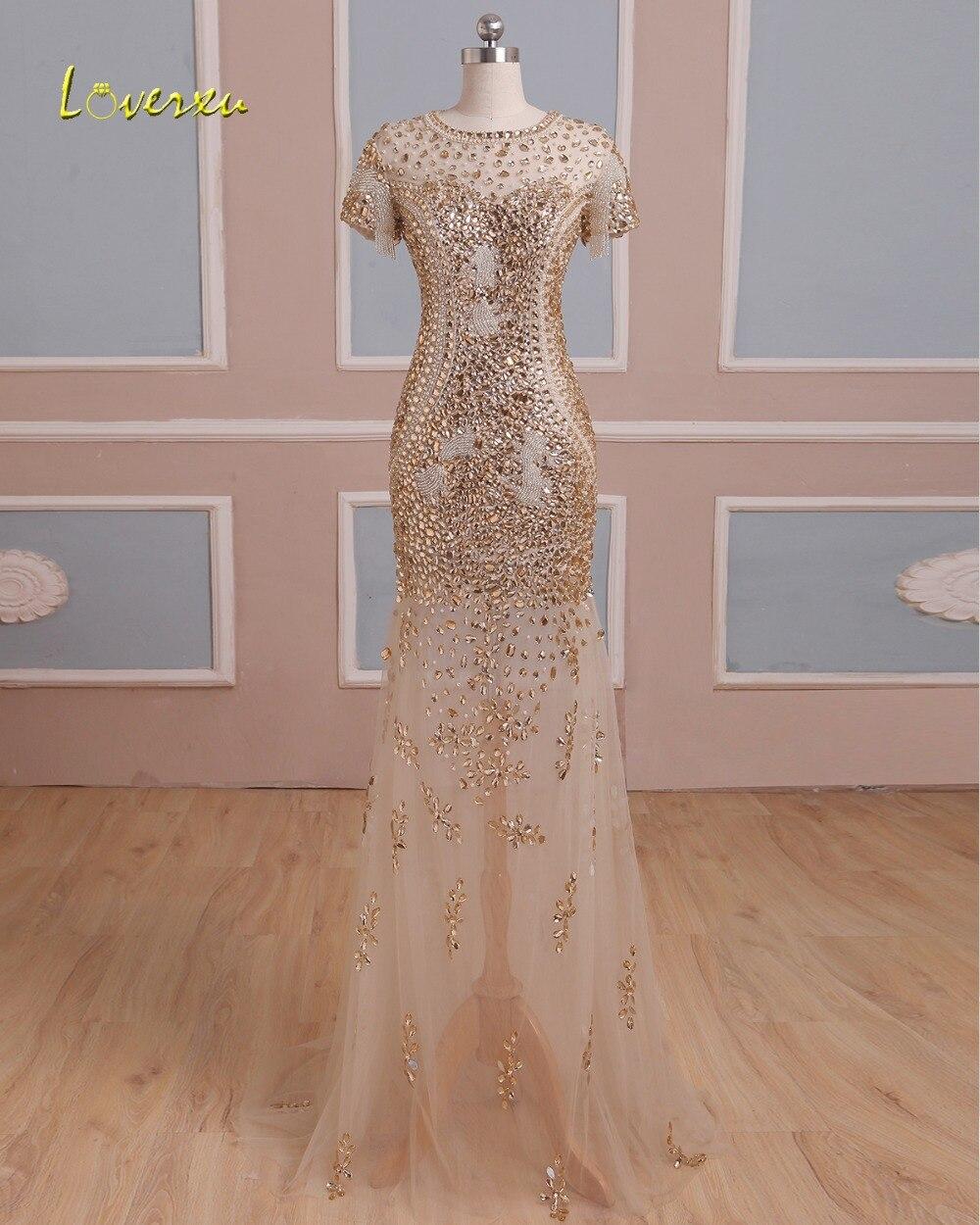 Loverxu luxe perlée à manches courtes cristal sirène Robe De soirée 2019 Vintage o-cou Zipper Robe De soirée Robe De soirée grande taille