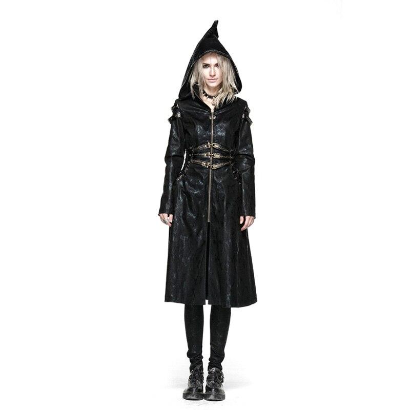 New Punk Women Streampunk Long Coat Slim Fit Waist Belt Hoodie Witch Visual Gothic Female   Trench   Coat