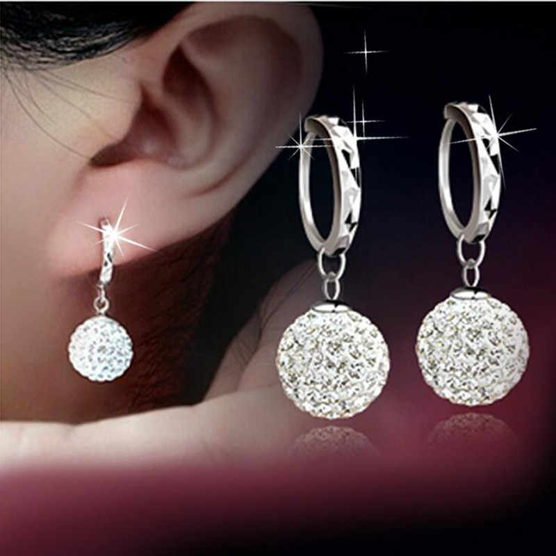 925 pure silver pendant earring full rhinestone ball ear buckle earrings fashion CZ Crystal earring Dangling wedding women
