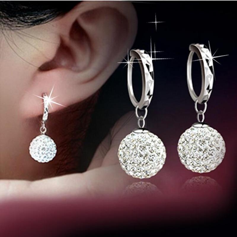 925 pure silver pendant earring full rhinestone ball ear buckle earrings fashion CZ Crystal earring Dangling wedding women(China)