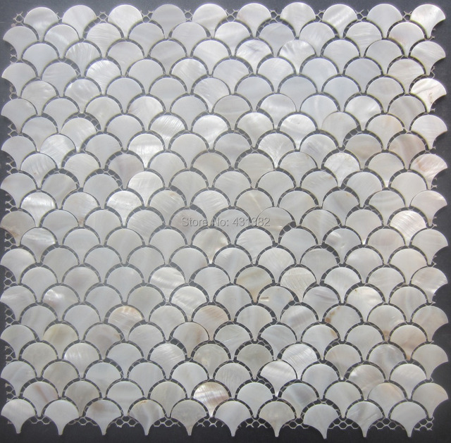 40 Pcs Mother Of Pearl Tiles Fan Shaped Mosaic For Wall Shell Mosaic