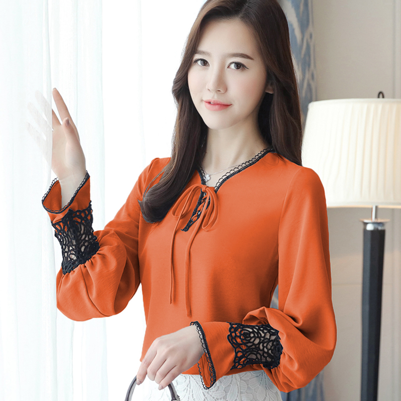 2018 New Spring Women Shirts Bow Lantern Sleevelt Lace Chiffon Hollow Out Blouse Shirt Orange Blue 8816