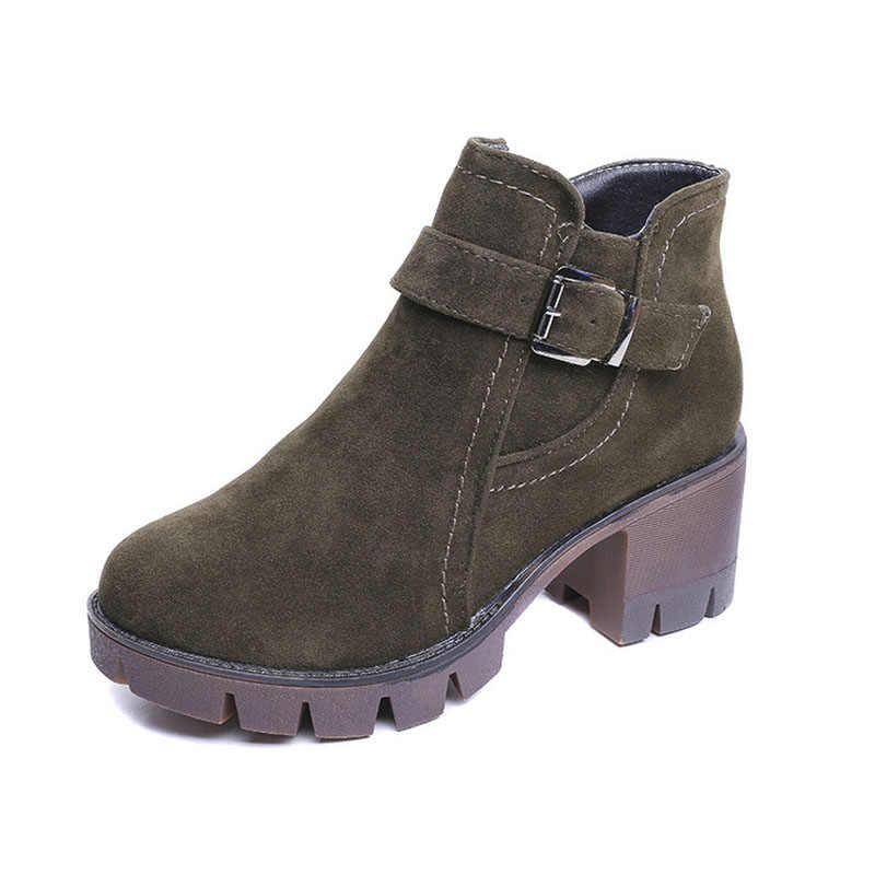 Huanqiu 35-40 осенне-зимние женские ботинки повседневная обувь Туфли замшевые ботильоны на высоком каблуке на молнии Зимние ботинки PP33