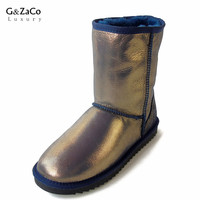 G&Zaco Luxury Sheepskin Snow Boots Women Natural Fur Genuine Leather Middle Calf Classic Tube Boots Winter Wool Boots Sheepfur