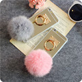Luxury Real Rabbit fur pompom Case For Samsung S3 S4 S5 Note 3 4 G530 A5 S7 Soft Plush Real Rabbit fur  coverring TPU back case