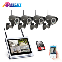 ARSECUT Plug And Play 4CH CCTV System Wireless 12 Inch LCD Screen NVR Outdoor Bullet WIFI