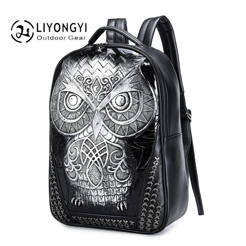 2017 Brands 3D Fashion Owl Backpack Women And Men black School Bags For Teenagers Girls PU Leather Women Travel Backpack Mochila