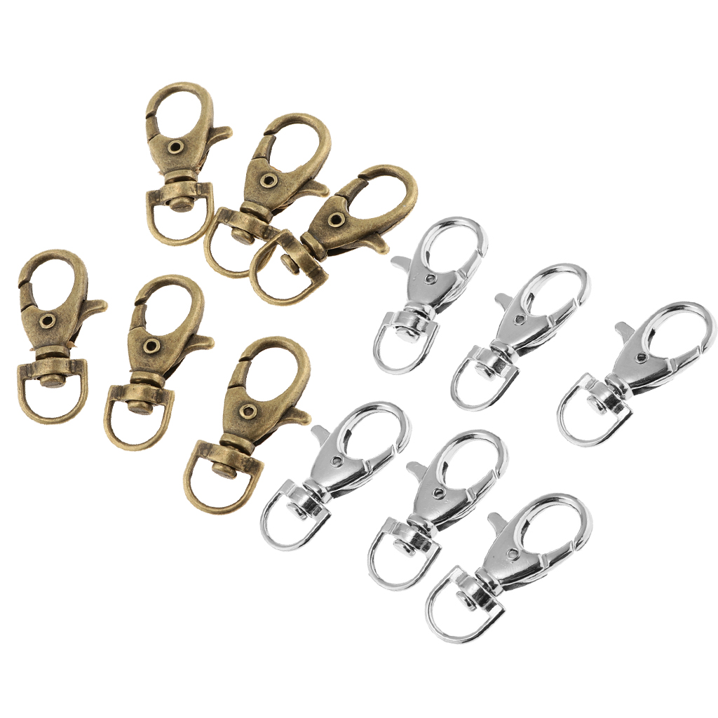60 PCS Metal Swivel Clasps Lanyard Snap Hook Lobster Claw Clasp Jewelry Findings with Key Chain Rings