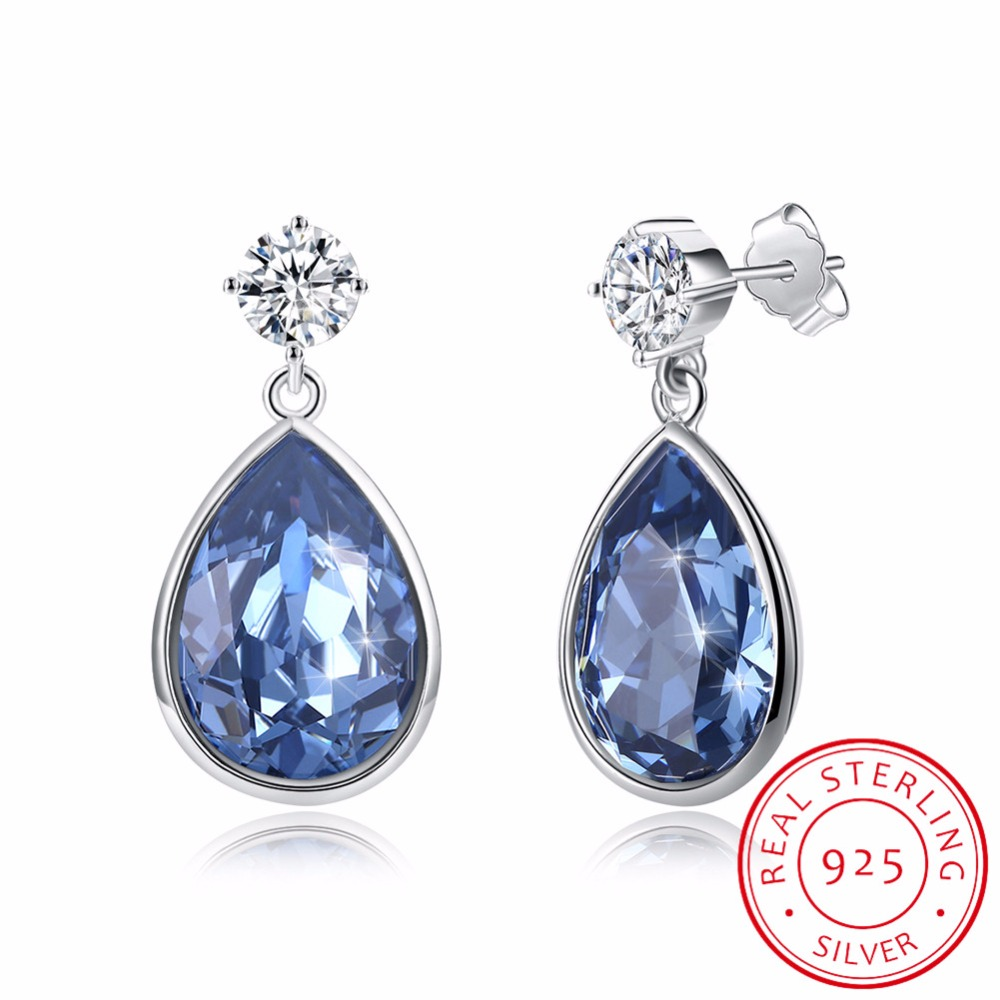 LEKANI Blue Crystal Water Drop Stud Earring Crystals From Swarovski 925 Sterling Silver  ...