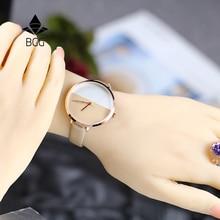 Lyx Kvinnors Mode Klänning Klockor Stitching Design Enkelt Armband Ladies Armbandsur Guld BGG Brand Quartz Famale Klocka