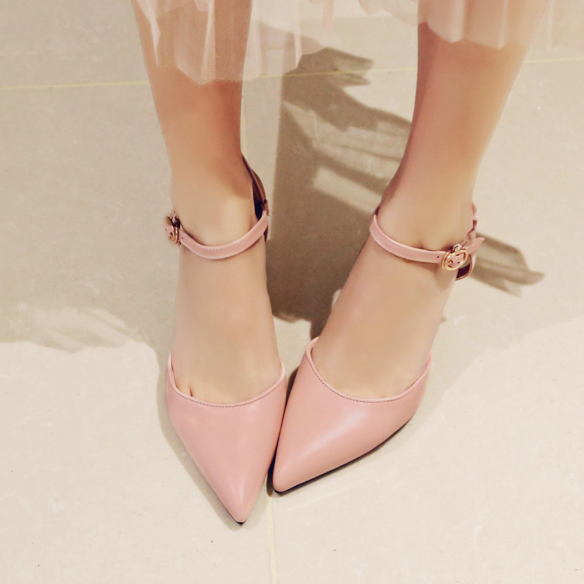 New 2017 Fashion OL  Spring Shoes Pointed Toe 7 CM Thin High Heel Women Pumps Pink Genuine Leather Wedding Shoes Size 34-39 new spring autumn women shoes pointed toe high quality brand fashion ol dress womens flats ladies shoes black blue pink gray