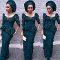 Nigerian Lace Gown Style Hunter Green Evening Dresses Lace African Evening Dress Long Party Gowns Sleeves Robe De Soiree