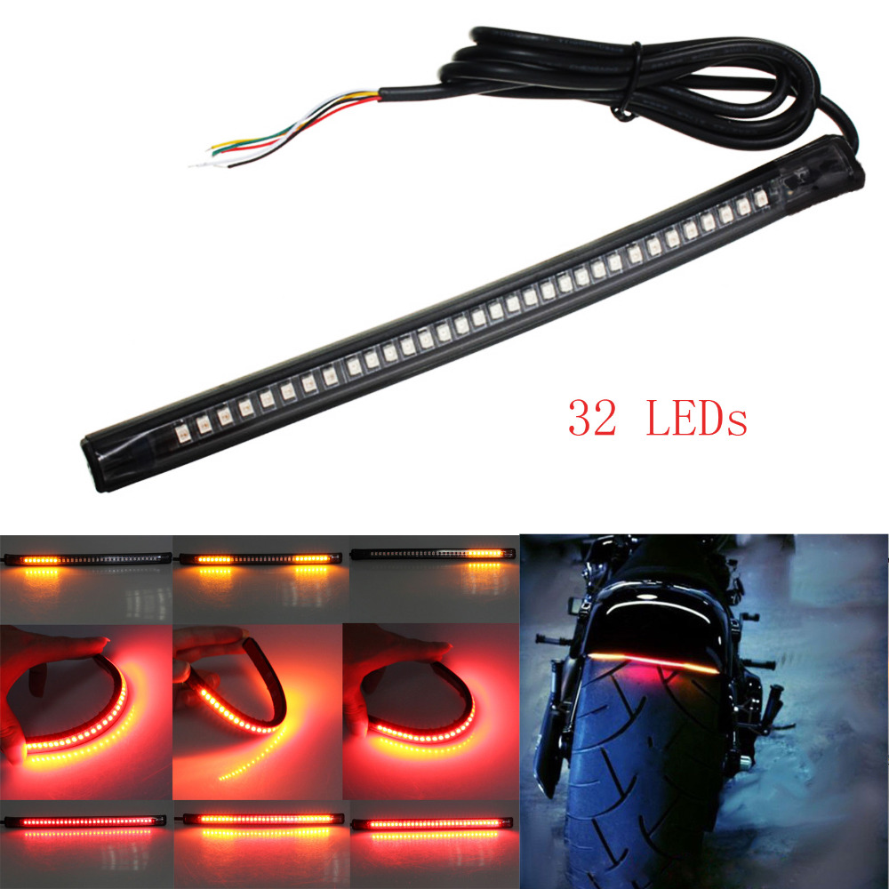 Universal Flexible LED Motorcycle Brake Lights Turn Signal Light Strip 32 Leds License Plate Light Flashing Tail Stop Lights