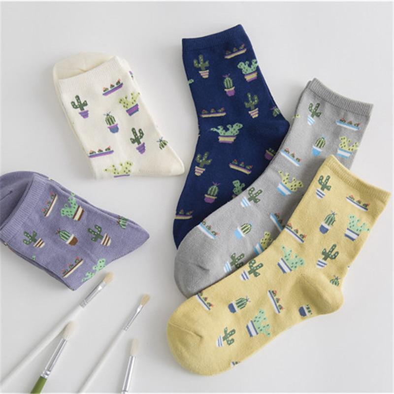2019 New Socks Women Cotton Plain Jacquard Cactus Fresh And Simple Wild Ladies Trend Harajuku Korean Comfortable Socks