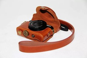 Image 5 - Leather Camera Case Cover Bag for Sony Cyber shot RX 100M3 RX100V M3 rx100ii DSC RX100 m3 M5 rx100 iii RX 100 ii camera bag