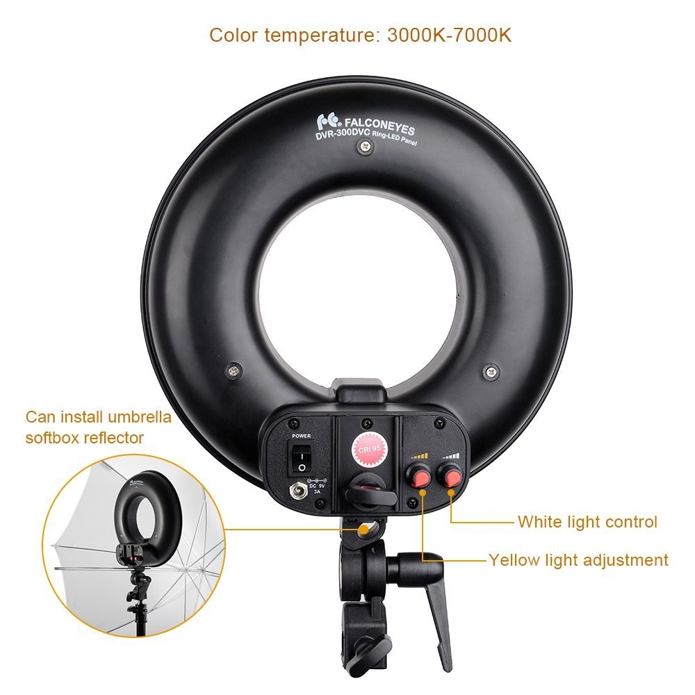 FalconEyes DVR-300 Dual Color 300 LED Ring Light