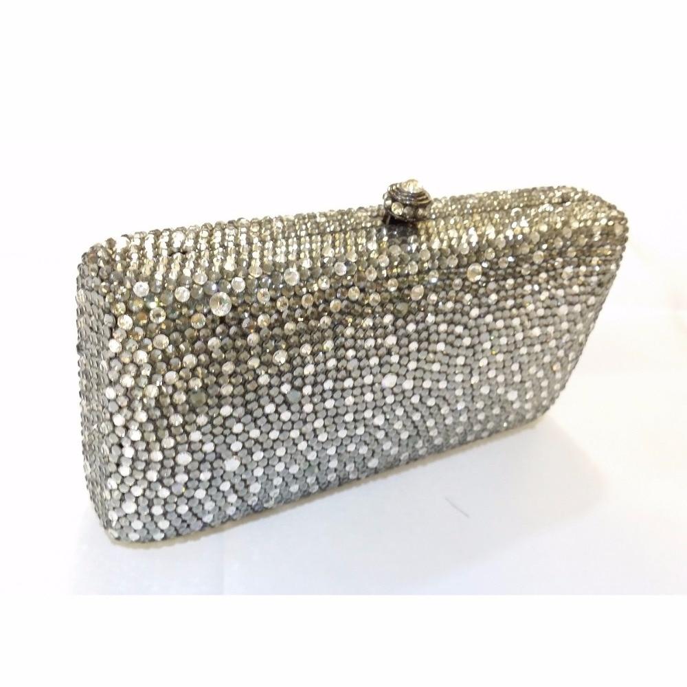 ФОТО 7764GC Grey mixed Clear Crystal Lady fashion Bridal Party Metal Evening purse clutch bag case box handbag