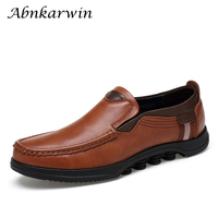 Casual big size men handmade genuine leather brown shoes solid breathable slip on flats loafers man