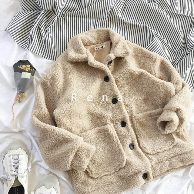 Restore Beige Fleece Jacket Teddy Bear Coat with Two Pocket Casacos Feminino