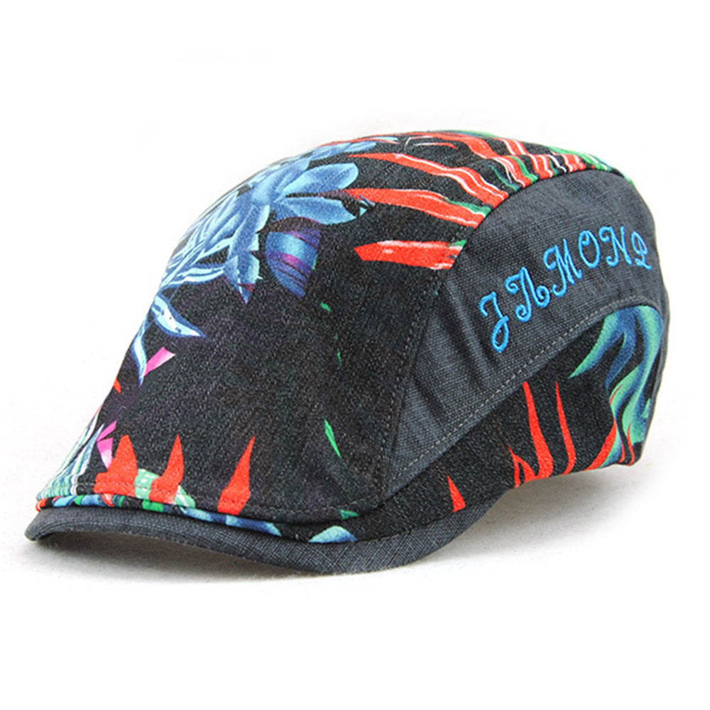 Casual Unisex Beret Hats Flower Printing Casquette Boina Buckle Visors Golf Driving Flat Detective Hat Casquette Newsboy Cap
