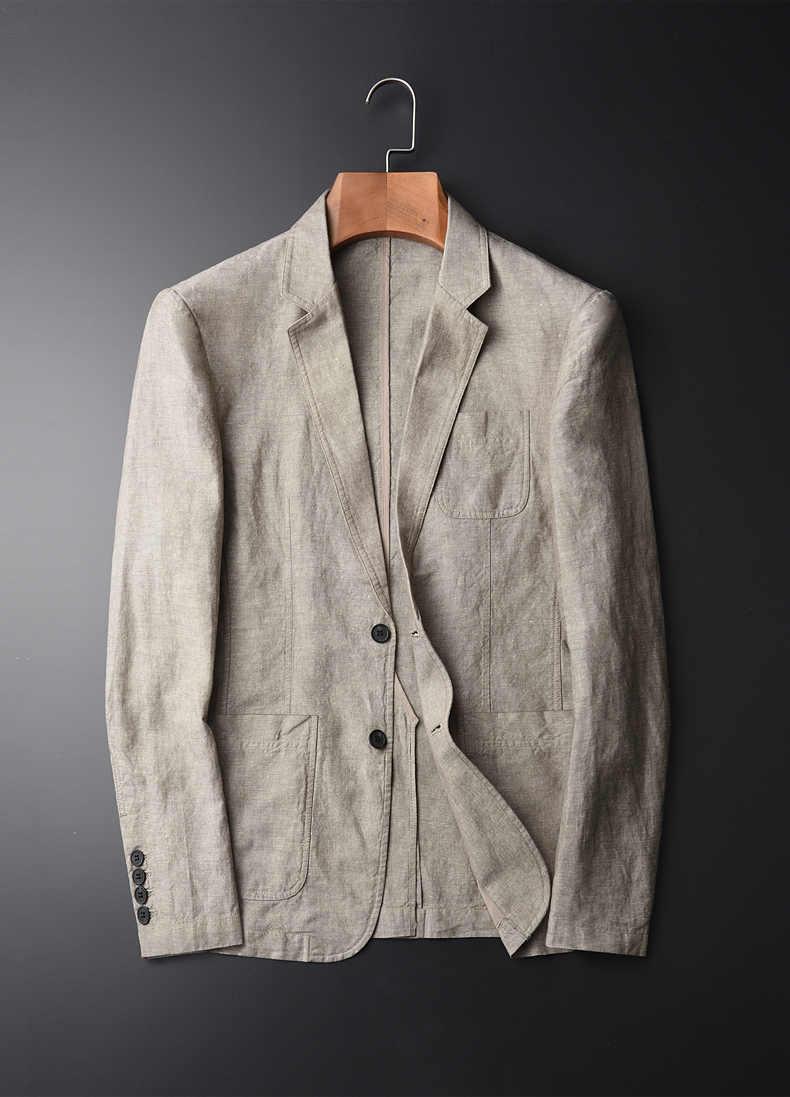 新到着ファッションリネンスーツ若い男性ジャケット春秋カジュアル綿のコートシングルブレスト高品質プラスサイズ MLXL-4XL