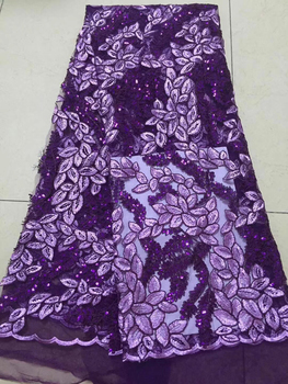 Latest Purple Color French Nigerian Lace Fabrics Sequins African French Velvet Tulle Lace African Lace Fabric Wedding CD32091