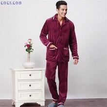 COCKCON Новый Роскошный Мужчины Пижамы Зимой Утолщение Мужчины Пижамы Теплый Пижамы Lounge Pajama Наборы 3XL Мужские Пижамы 601318