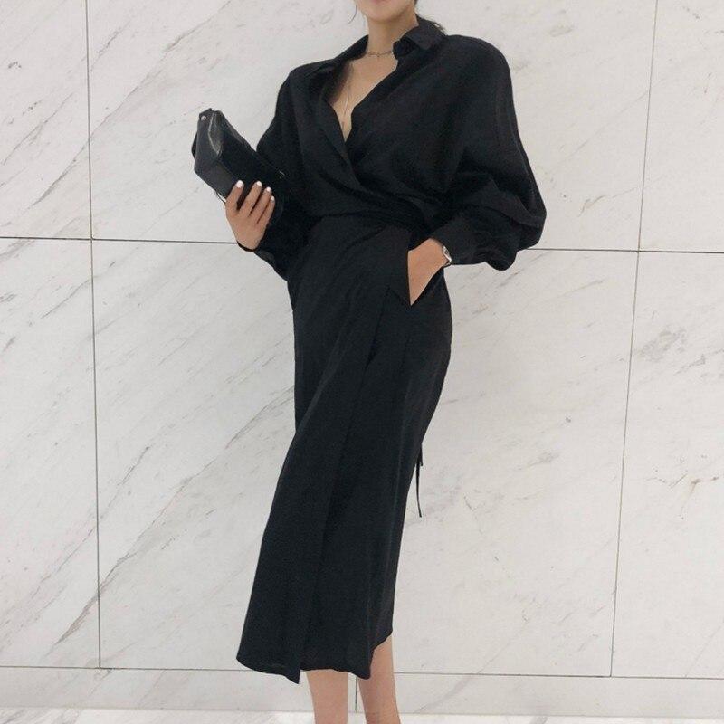 CHICEVER Solid High Waist Lace Up Dress For Women Hem Split Lantern Sleeve Slim Summer Dresses Female Clothes Fashion Korean New 7