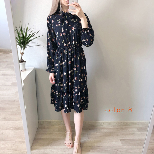 Chiffon High Elastic Waist Party Dress Bow A-line Women Full Sleeve Flower Print Floral Bohemian Dress Female Vestido Plus Size